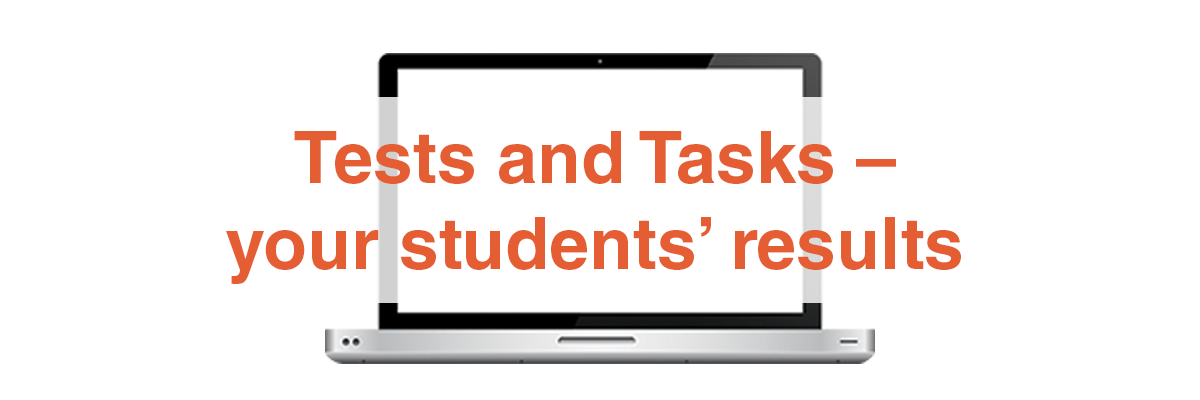 Test and task results for individual students